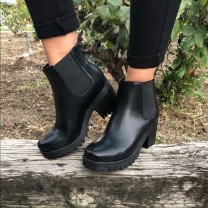 Vegan Leather Chunky Lug Sole Ankle Booties